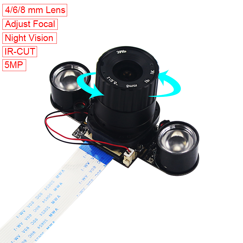 Newest Raspberry Pi 3 Model B+ IR-CUT Camera 4mm Adjustable Focal Night Vision Camera Webcam + 2 IR Lights  for Raspberry Pi 3 Newest Raspberry Pi 3 Model B+ IR-CUT Camera 4mm Adjustable Focal Night Vision Camera Webcam + 2 IR Lights  for Raspberry Pi 3