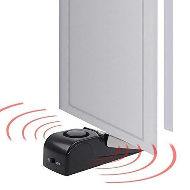 120 дБ Мини Беспроводная вибрационная сигнализация, дверной стоп-сигнал для дома, клиновидная образная пробка, оповещение, система безопасно...