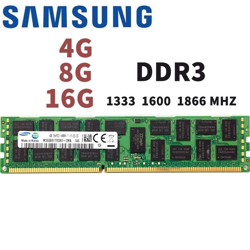 цена на SAMSUNG 4GB 8GB 16GB 4G 8G 16G DDR3 2RX4 PC3-10600R 12800R 14900R ECC REG 1600Mhz 1866Mhz 1333Mhz PC RAM Server memory RAM 1600