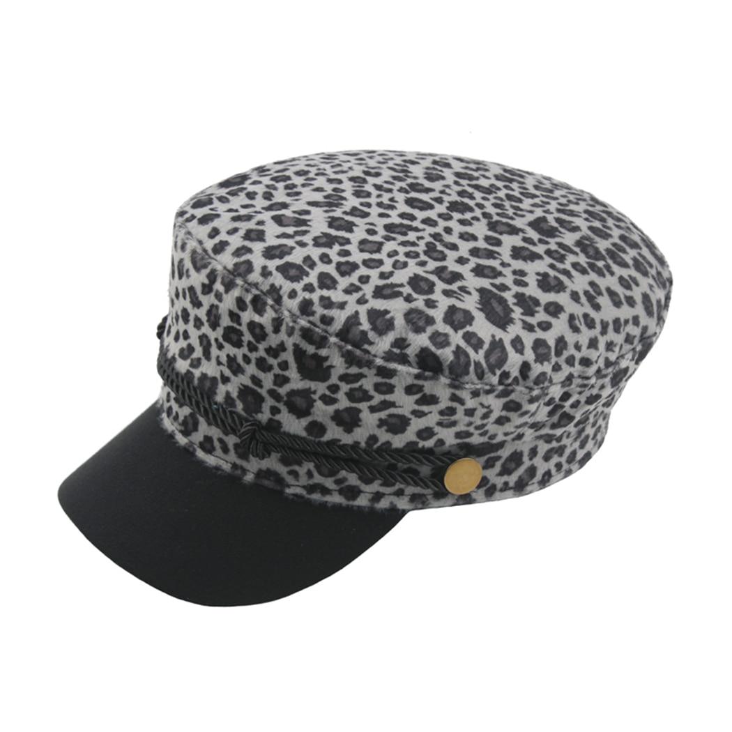 550d9cf8aee3e Fashion Military Cap Leopard Print Woman Cotton Beret Flat Hats Captain Cap  Vintage Black Sport Dad