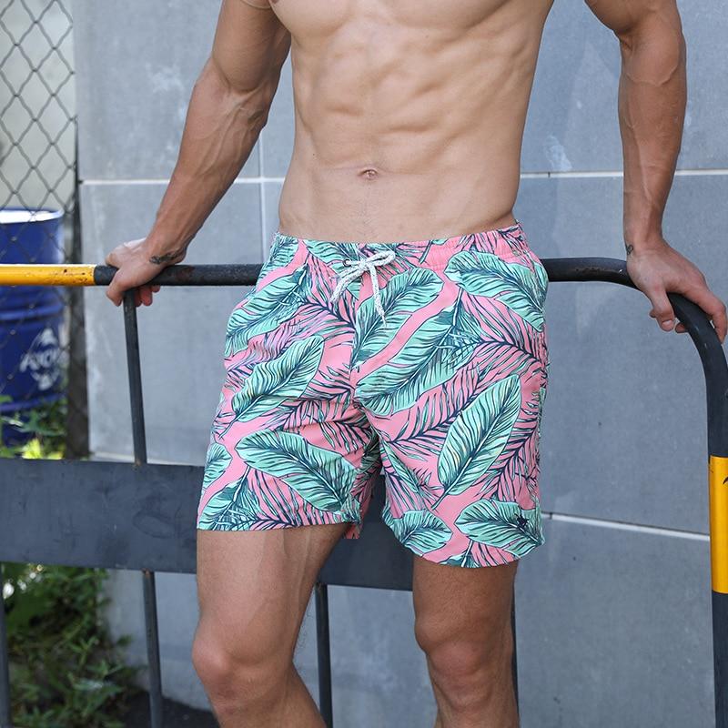 2019 Hot Men's Leaf Print Board Shorts Quick Dry Beach Shorts Gay Surfing Bermuda Beach Wear Floral Swim Short Men Boardshorts