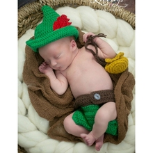 children knitted suit newborn baby photography accessories make up dress suits peter pan costume playing