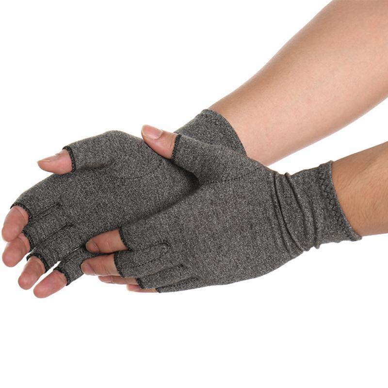 1 пара для женщин мужчин хлопок эластичный терапии открытыми пальцами компрессионные перчатки рук артрит сустава боли Прихватки для мангал...