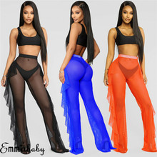 2019 Women Sexy Mesh Sheer Trousers Bikini Cover Up Beach Transparent Pants High Waist Fishnet Hollow Out Ruffles Wide Leg Pants