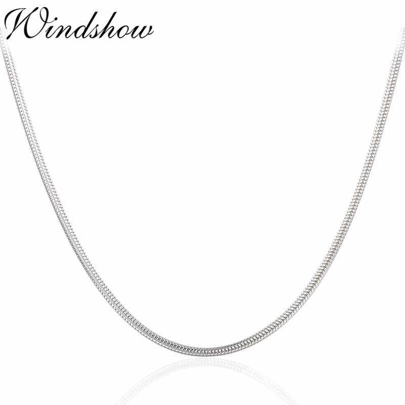 "1.5mm 40-90cm Real Solid Pure 925 Sterling Silver Round Snake Chain Necklace Women Girls Men Jewelry 16""-36"" Erkek Kolye Ketting"