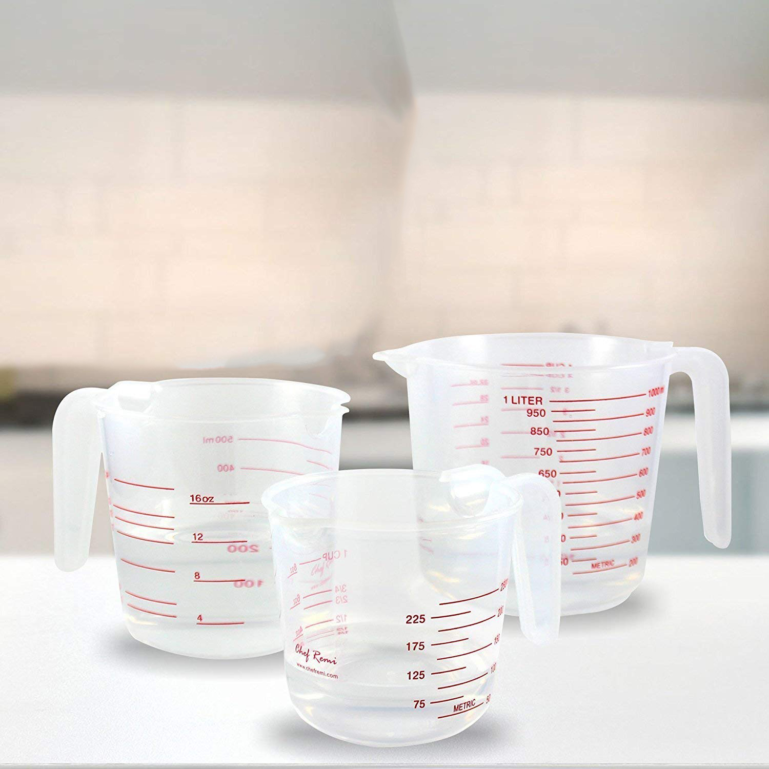 2 Cup and 1 Cup Capacity BPA Fre 3pc Plastic Measuring Jug Set Large 4 Cup