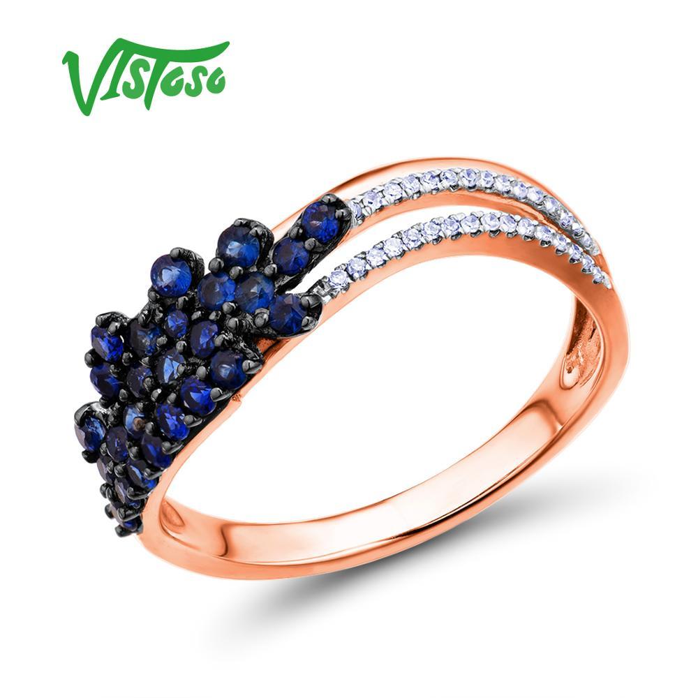 VISTOSO Gold Rings For Women Genuine 14K 585 Rose Gold Ring Sparkling Diamond Natural Blue Sapphire