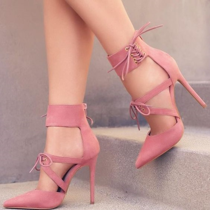 2019 New Design Womens Pink Pointy Toe Lace up Ankle Strap Heels Stiletto Heel Pumps2019 New Design Womens Pink Pointy Toe Lace up Ankle Strap Heels Stiletto Heel Pumps