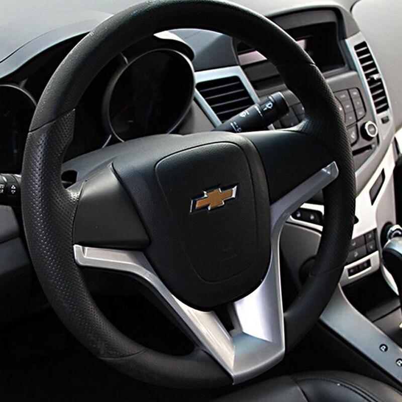 Car Steering Wheel Trim Cover Sticker For Chevrolet For Cruze Sedan Hatchback 2011 2012 2013 2014 Chrome Sticker Accessories