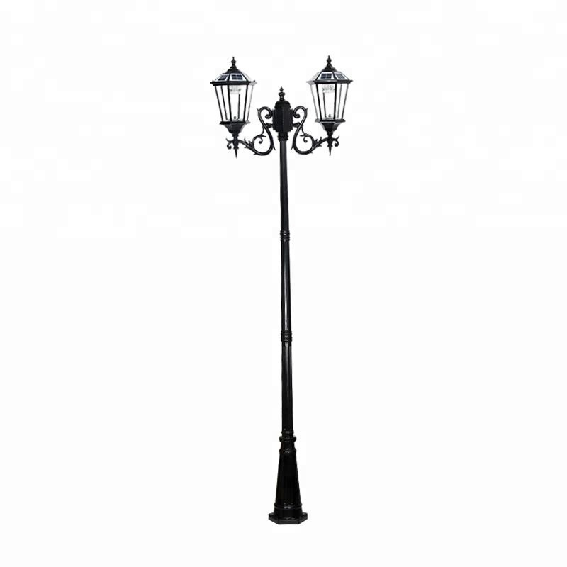 Free Shipping Via express Double Arm 3m Solar Post Lantern With Pole Outdoor Garden Decorative - 3