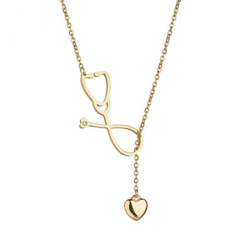 Heart Shape สร้อยคอผู้หญิง Medical Stethoscope Y เงินเครื่องประดับสร้อยคอ Collier Femme Choker สร้อยคอผู้หญิงของขวัญ