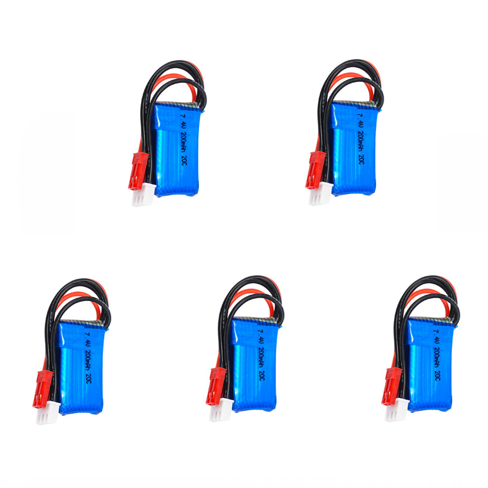 5 pcs/lot 7.4V 2S 200mAh 20C LiPO Battery JST plug for RC scale 1/36 Model Buggy Truck F3P Indoor micro aircraftParts & Accessories   -
