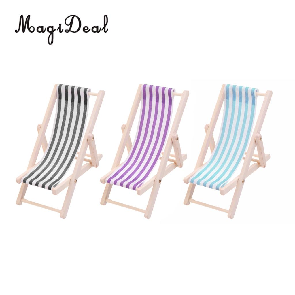 1Pc 1/12 Scale Mini Miniature Striped Wooden Summer Lounge Chair For Beach Seaside Garden Yard Furniture Decor Toy 11x5cm