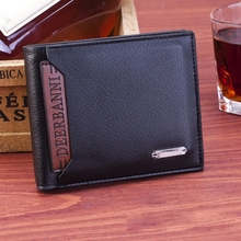 лучшая цена Men's Short Wallet Business Classic Leather Wallet Card Position Running Rivers And Lakes Burning Wallet