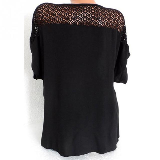 Women Blouse Plus Size XL-5XL Bat's wing sleeved V neck Tops shirt Fashion Lace Edge vestidos casual shirts 4