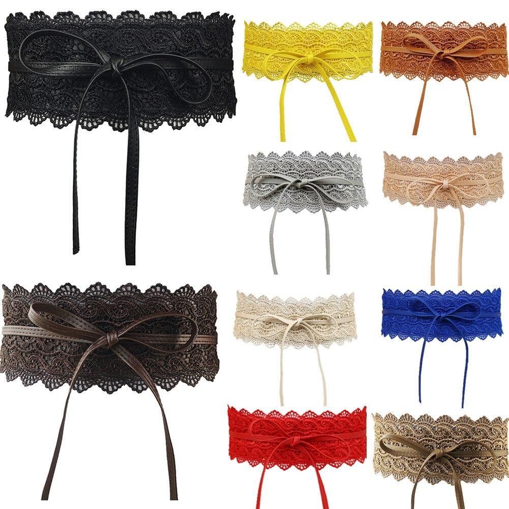 Fashion Elegant Women's Bowknot Faux Leather Lace Corset Belt New Multi-Color 10cm Wide Party Dress Decor Belt Girdle Waist Band