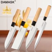 Damask Kitchen Knife Stainless Steel Knives Set Wood Handle Ultra Sharp Sashimi Santoku Chop Chef Cooking Accessories