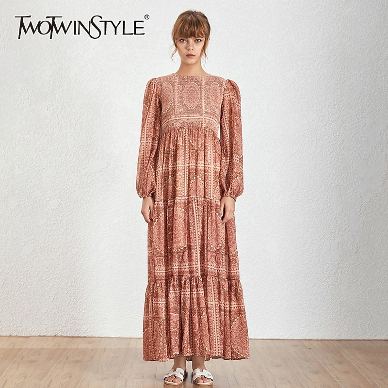 TWOTWINSTYLE Vintage Print Long Dress O Neck Lantern Sleeve High Waist Button Ankle Length Dresses Female