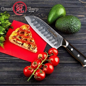 Image 4 - سكين مطبخ من Santoku مقاس 5 بوصة vg10 بتصميم دمشقي من الفولاذ الياباني مكون من 67 طبقتين من الكربون الصلب الذي لا يصدأ أدوات طبخ الشيف الحادة