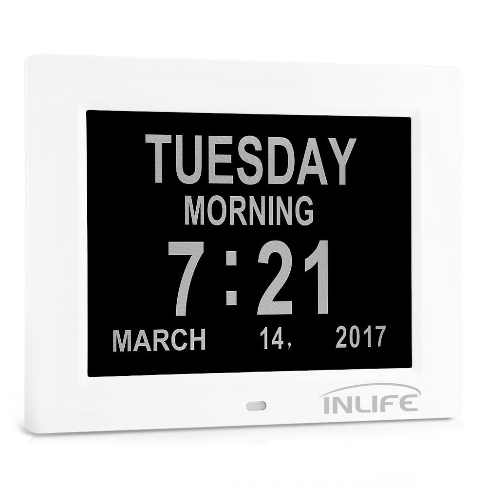 Inlife DDC 8009 8 Inch Digital Calendar Clock With 8 Alarm Options Auto Light Dimmer SD Card Digital Clock Reminding Setting New