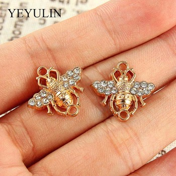 10 Pcs Gold Color Alloy Crystal Bee Jewelry Connectors Bracelets Charms For Making Necklace Bracelets DIY Jewelry Findings wholesale 15pcs alloy enamel metal bee charms for jewelry pendants diy earrings necklace making accessory