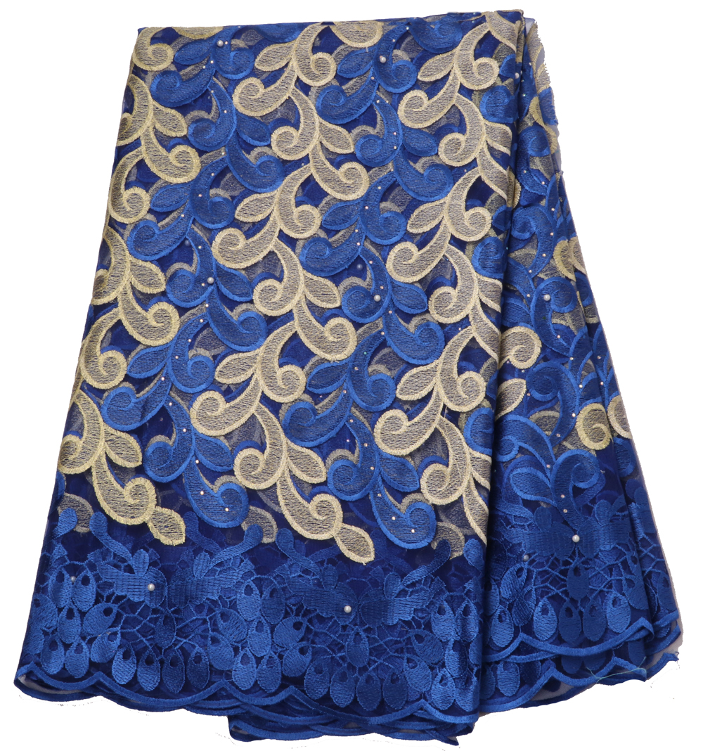 5yards african lace fabric rolyal blue 2019 high quality lace french mesh fabric beaded stones nigerian