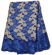 5 ярдов Африки кружевной ткани rolyal синий 2019 высокое качество кружева французская сетчатая ткань бисером и камнями в нигерийском стиле швейцарская кружевная ткань