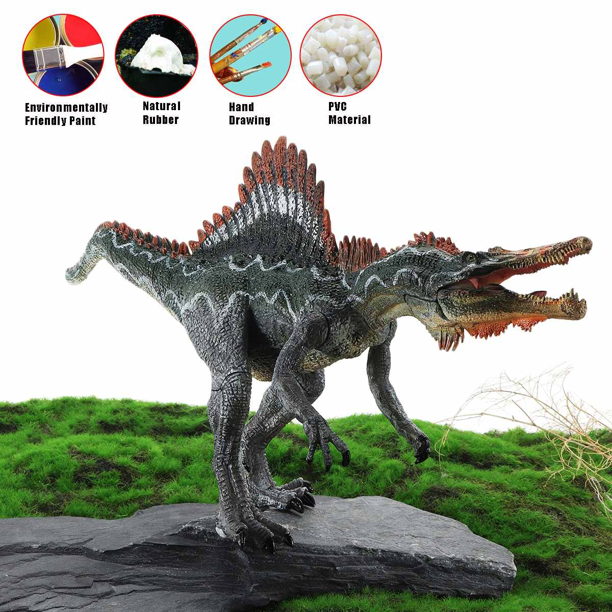Spinosaurus Dinosaur Figure Soft Plastic Toy Model Christmas  Gift for Boy