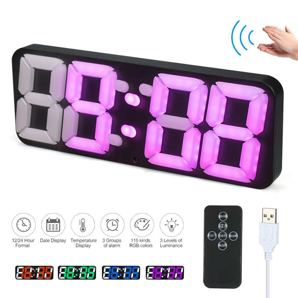 3D беспроводной дистанционный цифровой настенные часы RGB светодиодный Термометр Будильник с usb-питанием Звук управление изменение цвета настольные часы