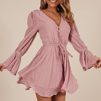 Women Chiffon Jumpsuit V Neck Long Sleeves Bell Cuff Button Dot Summer Casual Playsuit Rompers Fashion Elegant Ladies Party Wear 3