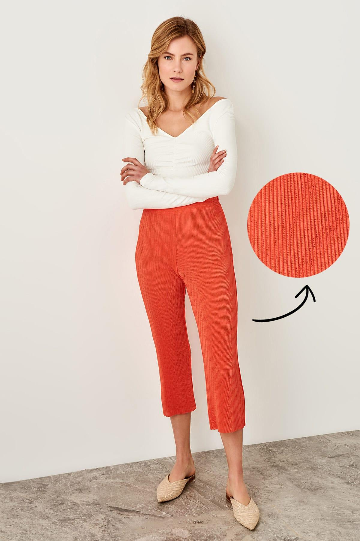 Trendyol Coral Pleated Knitted Pants TWOSS19VG0108