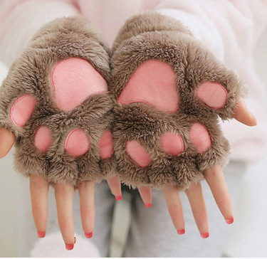 Mitten Soft Volledige Vinger Handschoenen Fashion Winter Warmer Volwassenen Jongen Meisje Kat Vingerloze Hand Leuke Kat Claw Paw Pluche Handschoenen