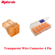 20PCS transparent Quick Wire Connector 4pin Cable Terminal Block Push wire conectores MKVSE-104 wago