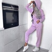 Women Slim Jumpsuit bodysuit rompers Ladies Fashion Zipped Hooded Bodysuit Long Sleeve Purple Casual Long Jumpsuit Romper