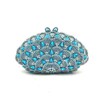 Women evening party bag diamonds clutches luxury accessories bag Nigeria bridal wedding party shell shape purses crystal purses