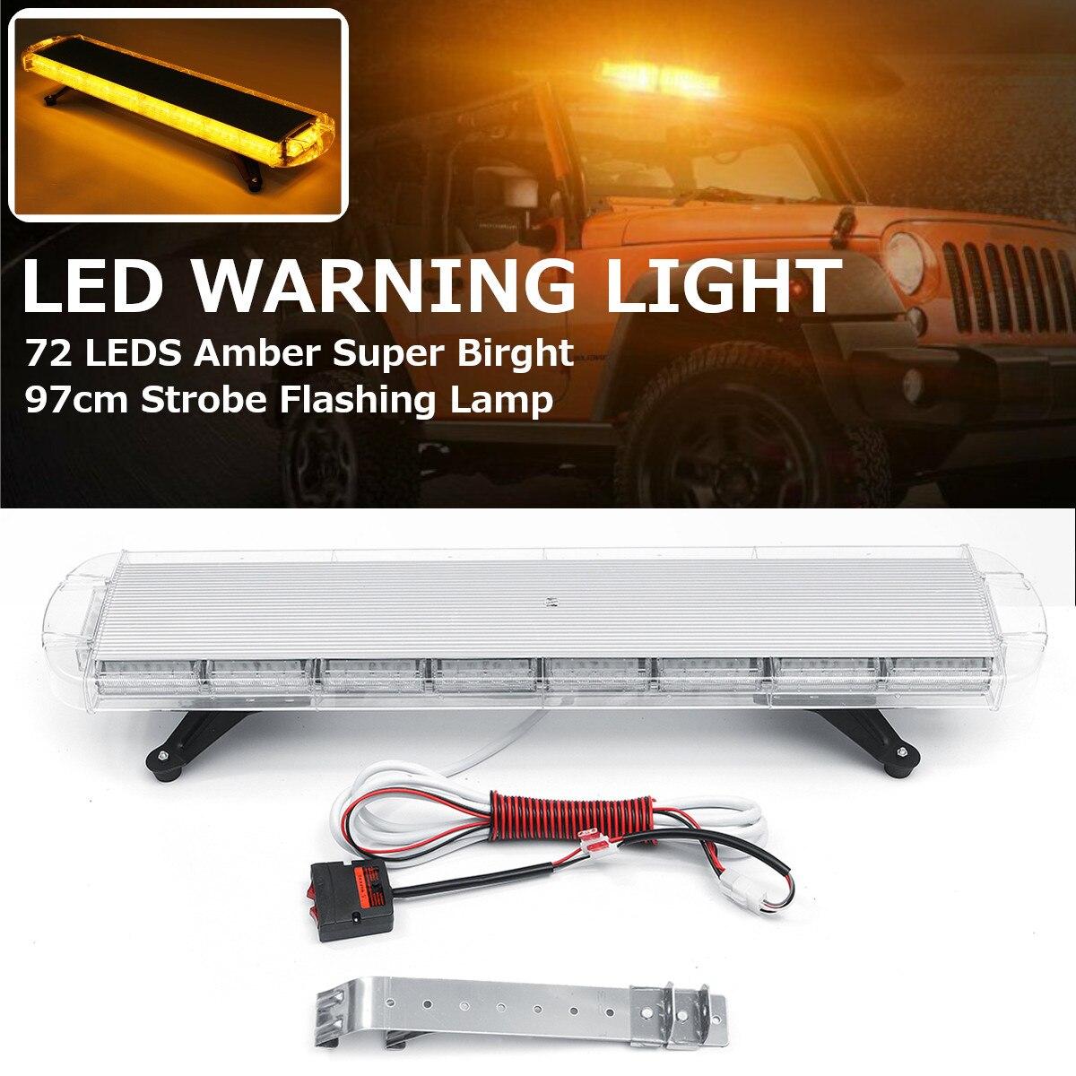 12 24v 40 inch 72W 72 LED Car Strobe Emergency Amber Lights Bar Beacon Hazard Warning Flash Lamp