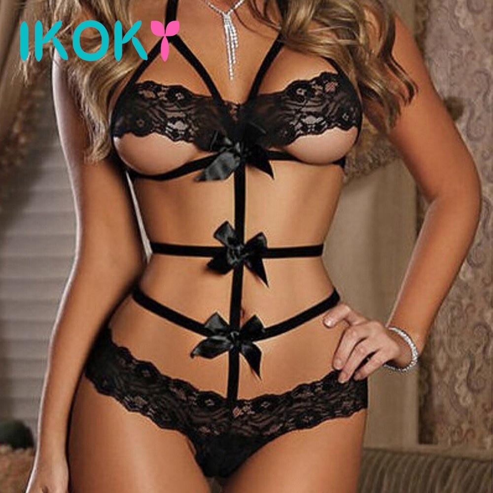 IKOKY Babydoll Sleepwear Sex Toys For Women Exotic Apparel Lace Bow Dress Sexy Underwear Nightwear G-string Erotic Lingerie