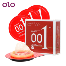 OLO 3 Pieces/Pack Condoms Penis Cock Sleeve Delay Heat Touch Ultra Thin Hyaluronic Acids Natural Latex Sex Toys for Men