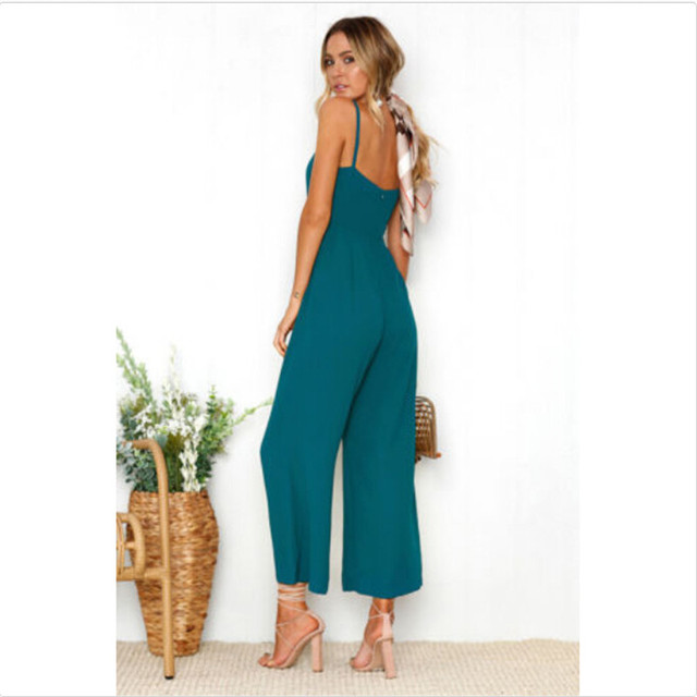 Women Casual Bodysuits Womens Fashion Slim Sleeveless Pants Suspender Trousers Jumpsuit Casual Rompers 2
