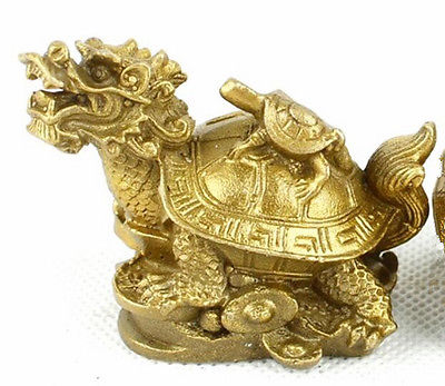 Collectable Chinese Brass Carved Animal Dragon Turtle Yuan Bao Coin Money Exquisite Small Pendant Statues