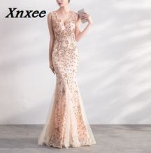 Xnxee Sequins Beading Dresses Mermaid Long Formal Prom Party Dress 2018 New Style
