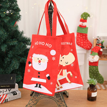 10 Pcs / Lot Cartoon Style Santa Claus Elk Christmas Gift Bags Presents Xmas Candy Bag Ornament Decorations