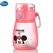 Nueva taza original de Disney 300 ML bebé Minnie Mickey rosa azul niños alimentación taza de Sippy con botella de agua deportiva de paja tazas