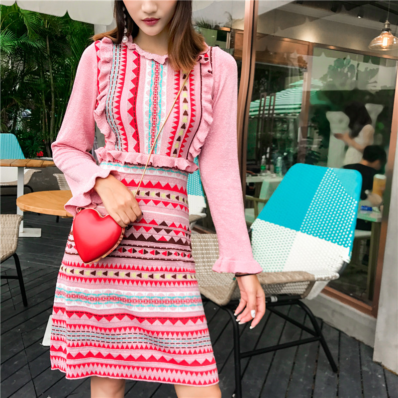 2018 Autumn New Fashion Stylish Runway Dress Women Striped Knitting Flare Sleeve Rainbow Stripe Sweater Dress High Quality