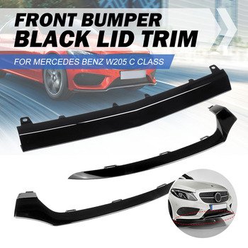 Front Left/Right/Center Car Front Bumper Lip Lower Splitter Cover Molding Trim For Mercedes For BENZ W205 C300 C400 C63 For AMG image