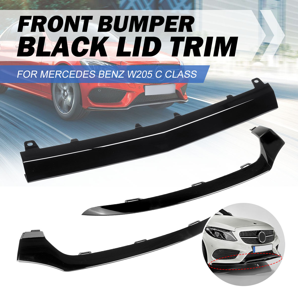 Front Left/Right/Center Car Front <font><b>Bumper</b></font> Lip Lower Splitter <font><b>Cover</b></font> Molding Trim For Mercedes For BENZ <font><b>W205</b></font> C300 C400 C63 For AMG image