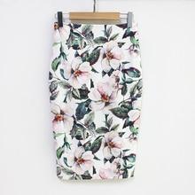цена на 2019 Summer Style Pencil Skirt Women High Waist Green Skirts Vintage Elegant Bodycon Floral Print Midi Skirt S-5XL