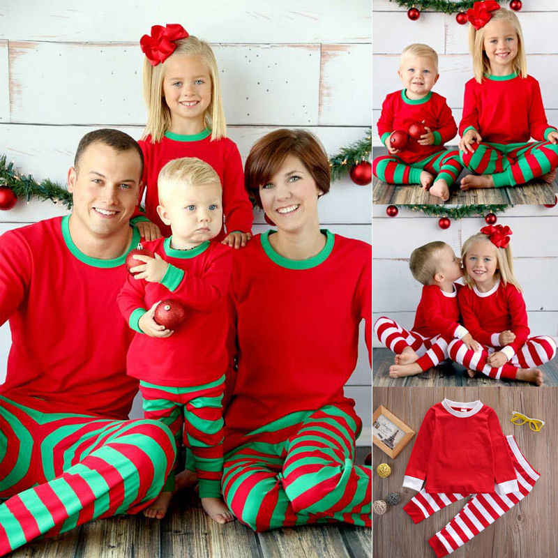 f9d6379986 Family Matching Red White Striped Christmas Pajamas PJs Sets Kids Xmas Sleepwear  Nightwear For New Year
