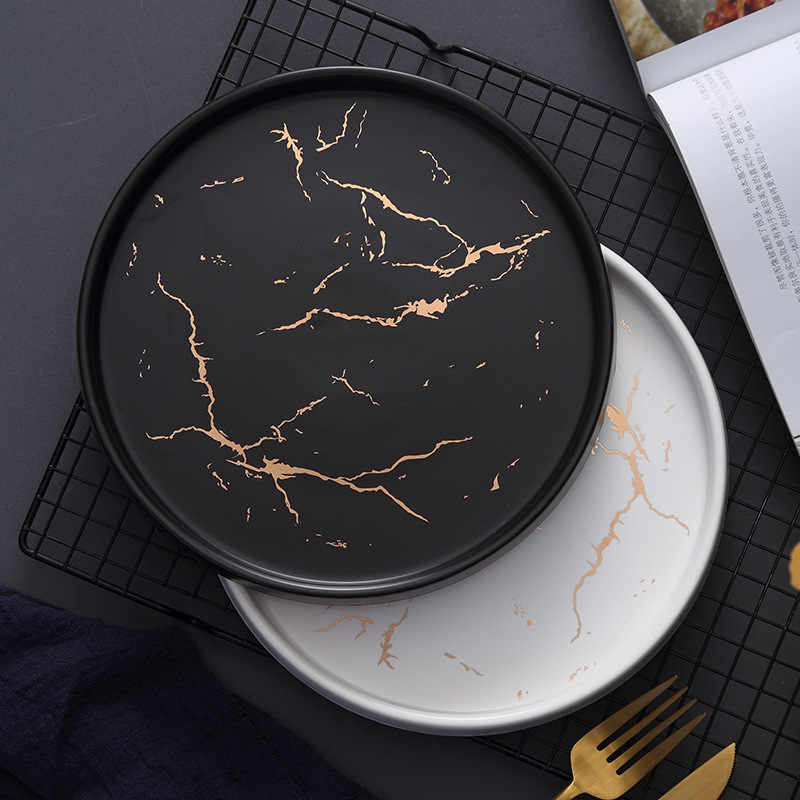 20 Cm Emas Hitam Putih Marmer Piring Keramik Porselen Makan Set Meja Dapur Gaya Eropa Dekorasi Makanan Penutup Steak Plate