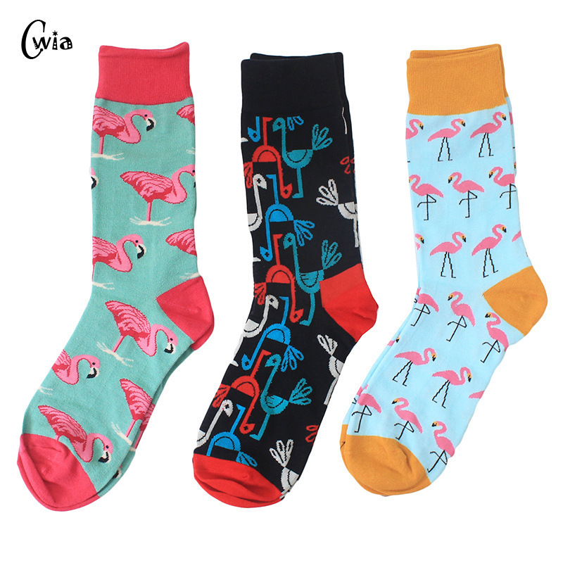 Combed Cotton Colorful Van Gogh Retro Argyle Flamingos Men Socks Cool Casual Dress Funny Party Dress Crew Socks 1pair=2pcs  Ms02